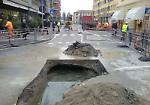 Voragine e perdita d'acqua in porta Ombriano