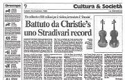 Alla casa d'aste Christie's di Londra prezzo record per uno Stradivari