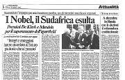Nobel per la Pace a Mandela e De Klerk