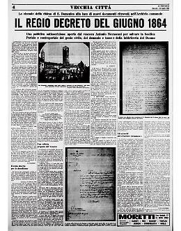 La Chiesa di San Domenico: il Regio decreto del giugno 1864 per la demolizione