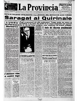 Giuseppe Saragat presta giuramento come quinto Presidente della Repubblica Italiana