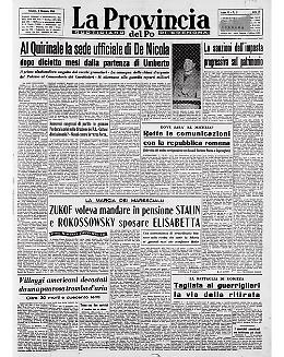 Entra in vigore la Costituzione della Repubblica Italiana. Enrico De Nicola primo presidente della repubblica
