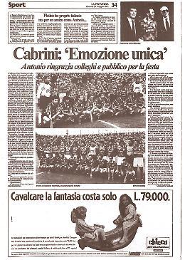 Antonio Cabrini dice addio al calcio giocato. Grande festa allo stadio Zini di Cremona