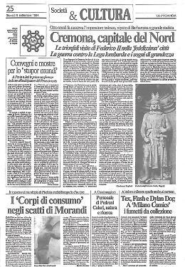 L'imperatore Federico II, nipote di Barbarossa, sicuro e protetto nella sua fedelissima Cremona