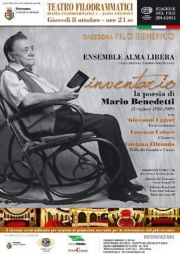 La poesia di Mario Benedetti con L'ensemble  Alma  Libera  Giovedì 8 ottobre