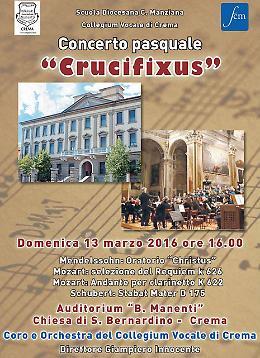 """Crema. Domenica 13 marzo il Concerto pasquale """"Crucifixus"""""""