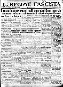 Il Duce veleggia verso la Tripolitania per portare la parola dell'Italia fascista e le popolazioni ansiosamente lo attendono