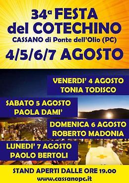 Ponte dell'Olio (PC). Dal 4 al 7 agosto la Festa del Cotechino