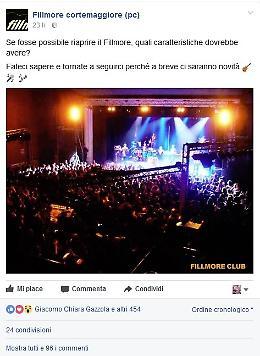 'Cosa dite se riapre il Fillmore?': pioggia di 'like' su Facebook