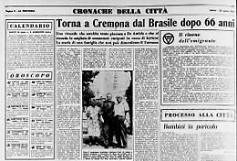 Torna a Cremona dal Brasile dopo 66 anni