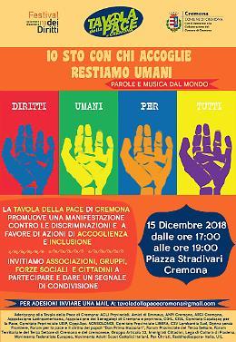 'Io sto con chi accoglie: restiamo umani', in piazza con Tavola della Pace
