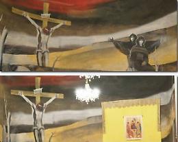 Affreschi, figure troppo inquietanti: coperte la Madonna e Maddalena