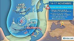 Maltempo: settimana critica con altra pioggia, neve e burrasche di vento