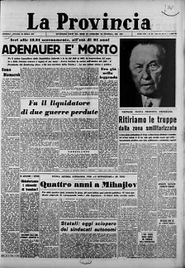 Adenauer è morto Quattro anni a Mihajlov