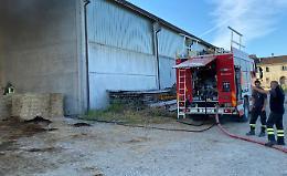 Incendio, rotoballe a fuoco in cascina: rogo domato dai pompieri