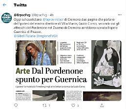 «Dal Pordenone spunto per Guernica»: l'assessore alla Cultura del FVG twitta l'articolo de La Provincia