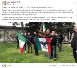 "Scanzi: ""Raduno fascista a Cremona, una baracconata"""