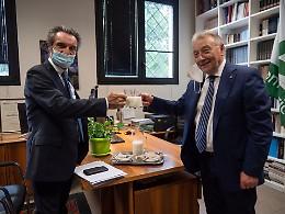 La visita del presidente Fontana nella sede de La Provincia