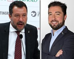 Il leader della Lega Matteo Salvini oggi pomeriggio a Pizzighettone