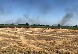 Incendio tra Gussola e Torricella del Pizzo all'interno di un campo