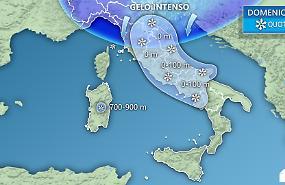 Tracollo termico, gelo intenso al Nord e al Centro