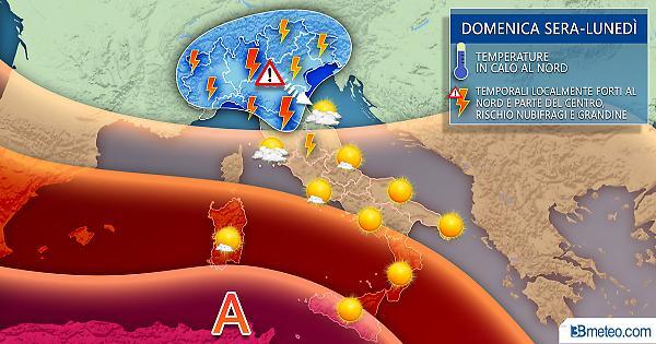 Stop al caldo: forti temporali e grandine da domenica