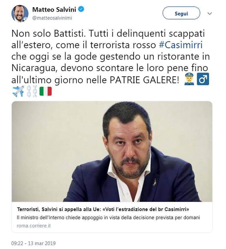 Terroristi, Salvini si appella alla Ue: