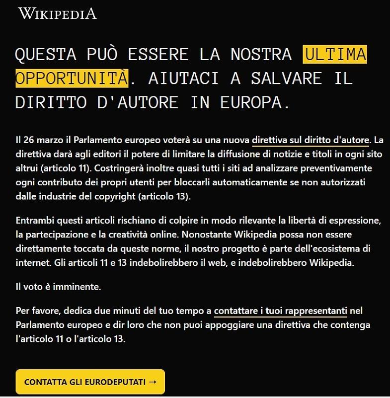 Direttiva copyright: anche Wikipedia Italia si oscura in segno di protesta